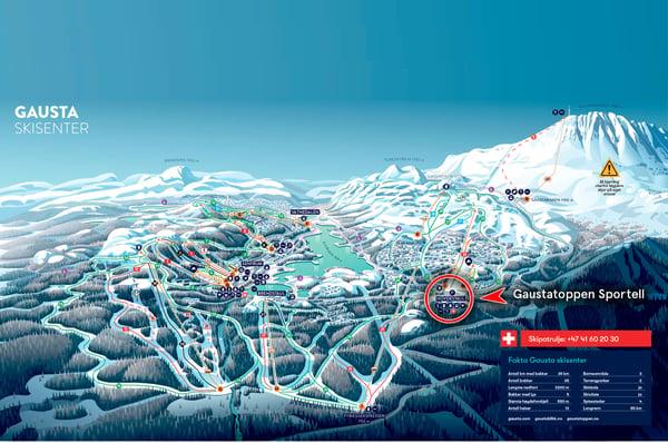 løypekart, gausta, alpint, ski, gaustatoppen, sportell,